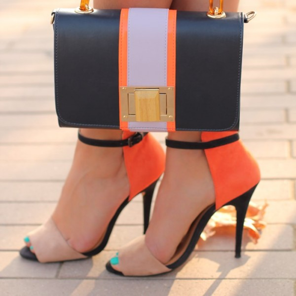 Khaki and Orange Ankle Strap Sandals Open Toe Suede High Heels image 1