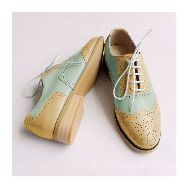Khaki and White Two Tone Wingtip Shoes Lace up Flat Oxfords image 2
