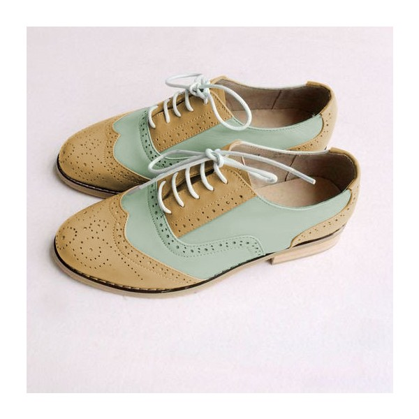 Khaki and White Two Tone Wingtip Shoes Lace up Flat Oxfords image 3