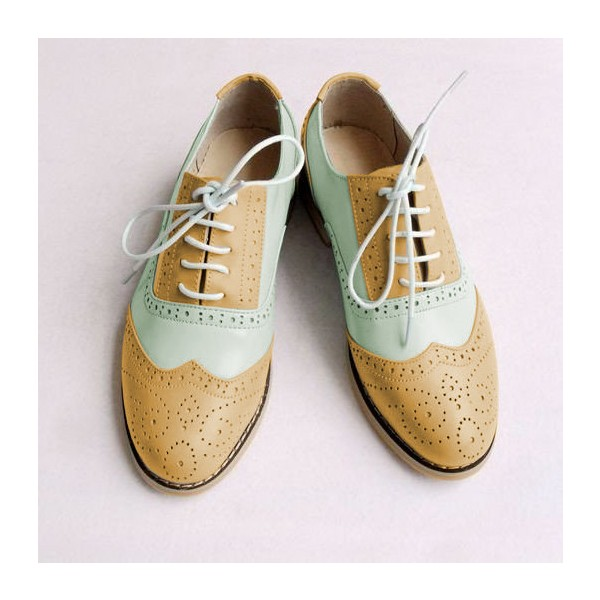 Khaki and White Two Tone Wingtip Shoes Lace up Flat Oxfords image 1