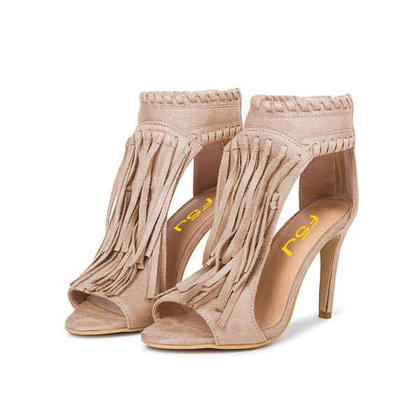 Khaki Fringe Sandals Open Toe 3 Inches Stiletto Heels Shoes image 1