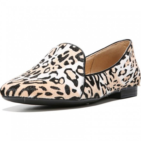 Khaki Horsehair Leopard Print Flats Loafers for Women image 1