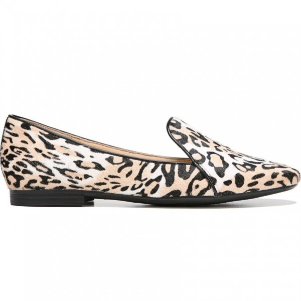 Khaki Horsehair Leopard Print Flats Loafers for Women image 3