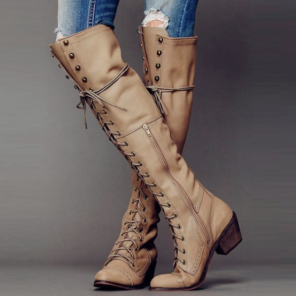 Khaki Lace up Boots Knee High Chunky Heel Fashion Boots image 1