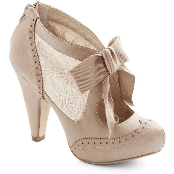 Khaki Vintage Boots Cone Heel Ankle Boots with Bow image 2