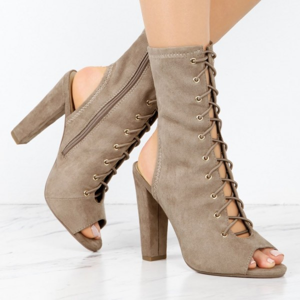 Khaki Lace Up Vintage Boots Slingback Suede Chunky Heel Anckle Boots image 2