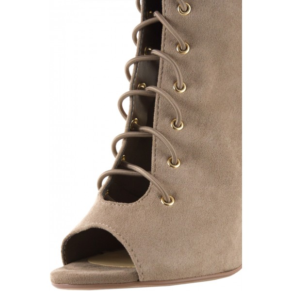 Khaki Lace Up Vintage Boots Slingback Suede Chunky Heel Anckle Boots image 3