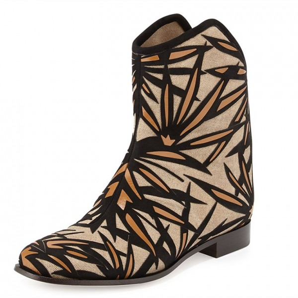 03d1900144074 Khaki Flat Ankle Boots Leaf Printed Round Toe Short Boots for Work ...