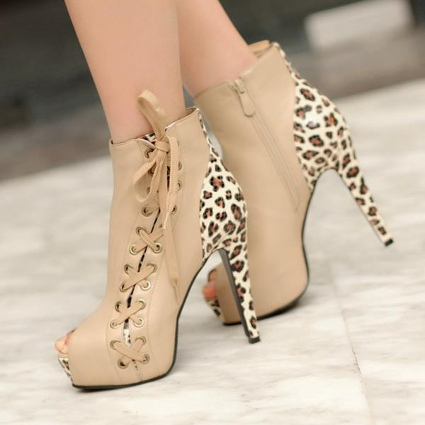 Khaki Leopard Print Boots Side Lace up Peep Toe Booties with Platform image 1