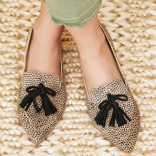 Khaki Leopard Print Flats Suede Loafers for Women with Tassels image 1