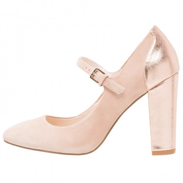 Nude Mary Jane Shoes Rose Gold Chunky Heels Round Toe Pumps image 3