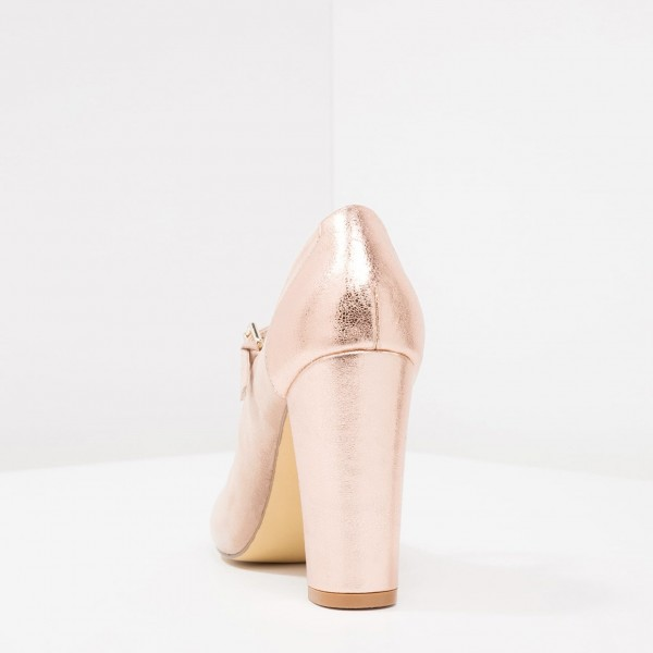 Nude Mary Jane Shoes Rose Gold Chunky Heels Round Toe Pumps image 2