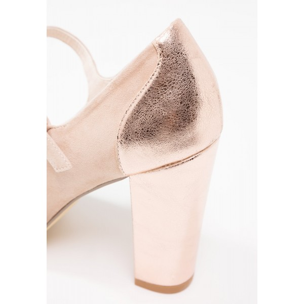 Nude Mary Jane Shoes Rose Gold Chunky Heels Round Toe Pumps image 4