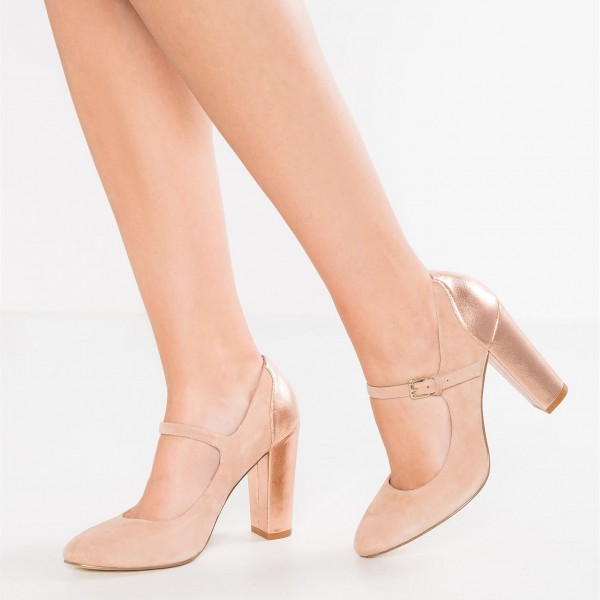 Nude Mary Jane Shoes Rose Gold Chunky Heels Round Toe Pumps image 1