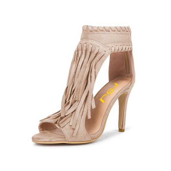 Khaki Fringe Sandals Open Toe 3 Inches Stiletto Heels Shoes image 6