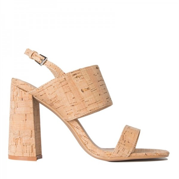 Brown Slingback Heels Nature Cork Open Toe Chunky Heel Sandals image 2