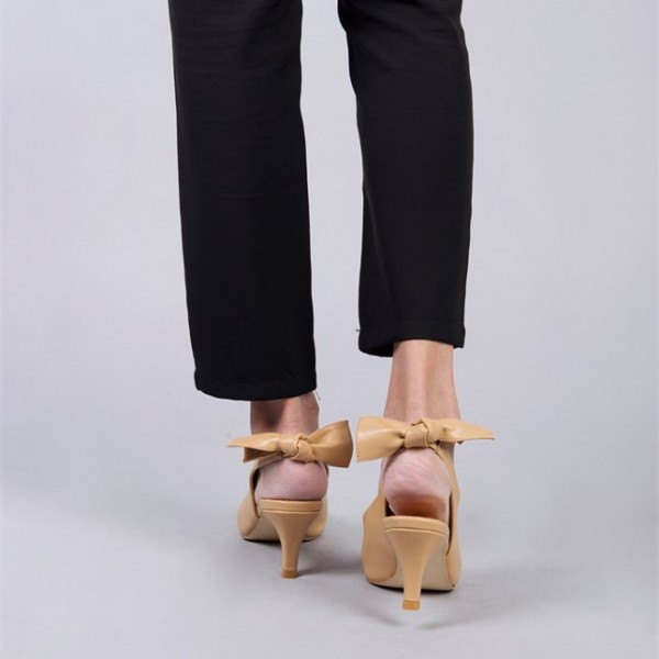 Khaki Slingback Heels Pointy Toe Cone Heels Pumps with Bow image 3