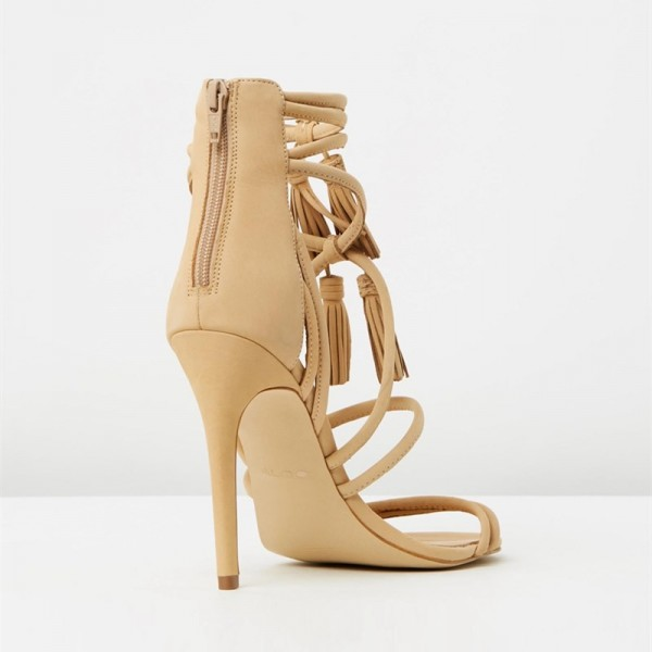Khaki Tassel Sandals Open Toe Strappy Stiletto Heels image 2