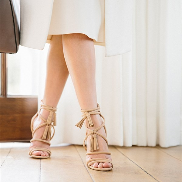 Khaki Tassel Sandals Open Toe Strappy Stiletto Heels image 3