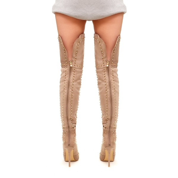 Khaki Studed Thigh High Stiletto Heel Long Boots with Zipper image 3