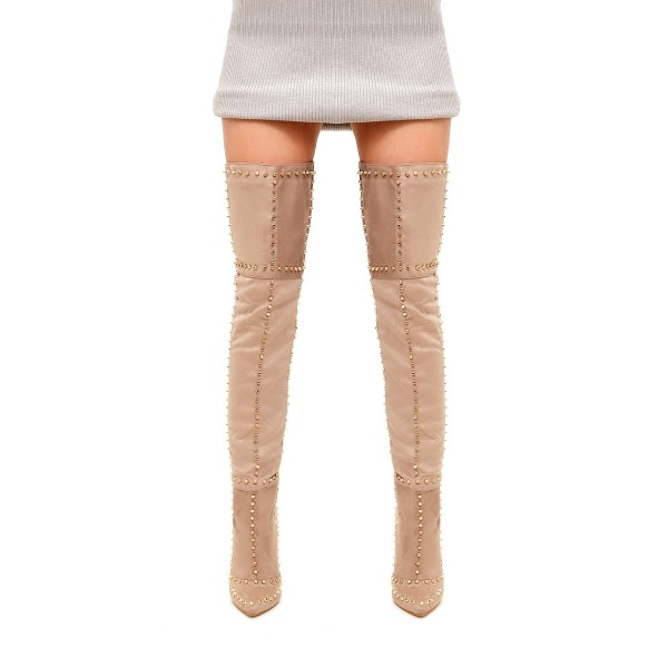 Khaki Studed Thigh High Stiletto Heel Long Boots with Zipper image 2