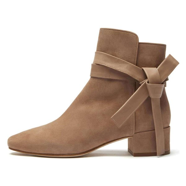 Khaki Suede Boots Bow Chunky Heel Ankle Boots image 2