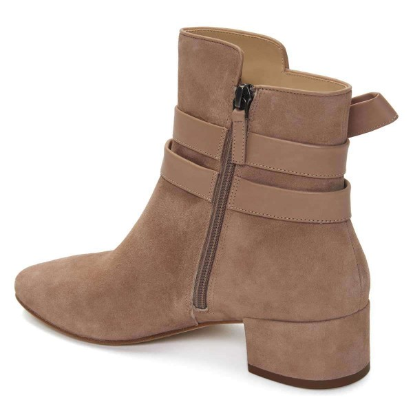 Khaki Suede Boots Bow Chunky Heel Ankle Boots image 3