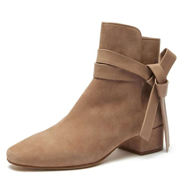 Khaki Suede Boots Bow Chunky Heel Ankle Boots image 1