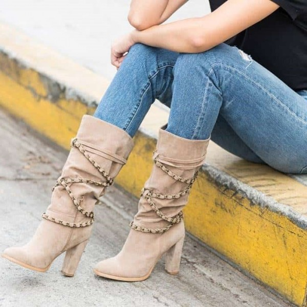 Khaki Suede Boots Straps Chunky Heel Mid Calf Boots image 1
