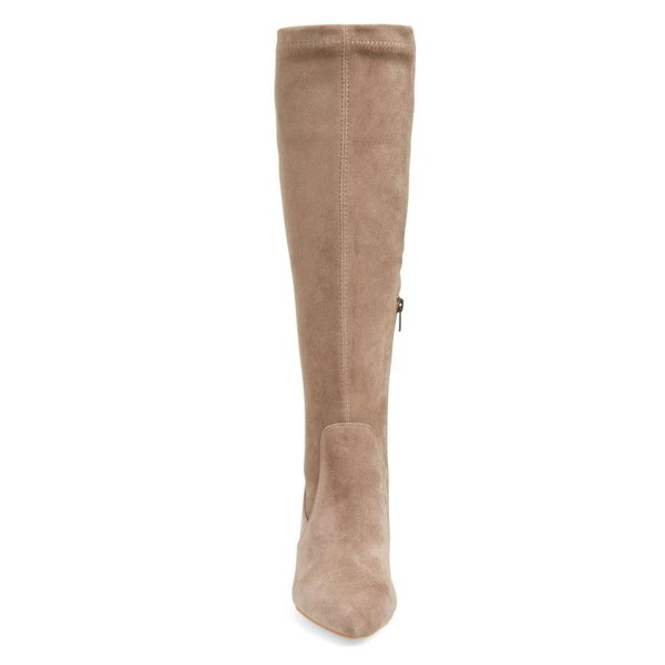 Khaki Suede Knee-high Stiletto Boots for Women image 3
