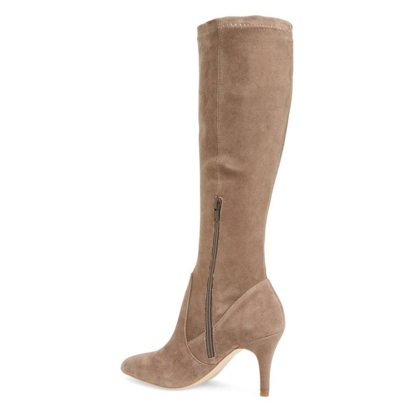 Khaki Suede Knee-high Stiletto Boots for Women image 4