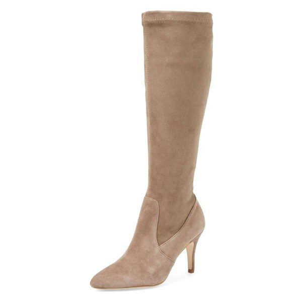 Khaki Suede Knee-high Stiletto Boots for Women image 1