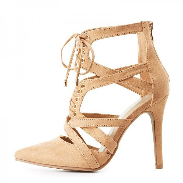 Khaki Suede Lace Up Stiletto Heel Summer Boots image 2