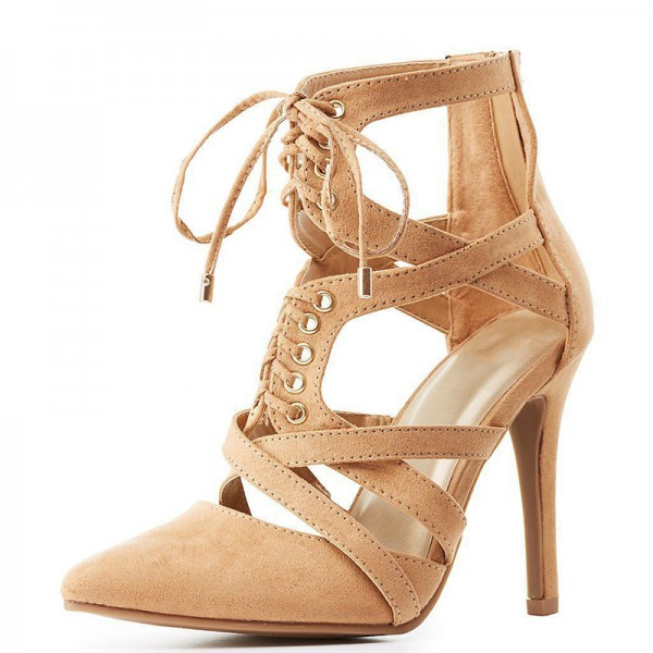 Khaki Suede Lace Up Stiletto Heel Summer Boots image 1
