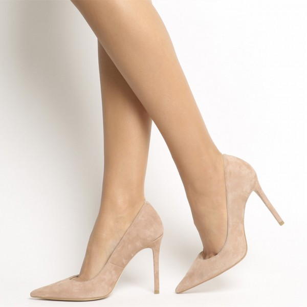 Khaki Suede Stiletto Heels Pointy Toe Pumps for Office Ladies image 1