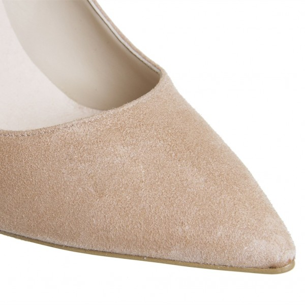 Khaki Suede Stiletto Heels Pointy Toe Pumps for Office Ladies image 2