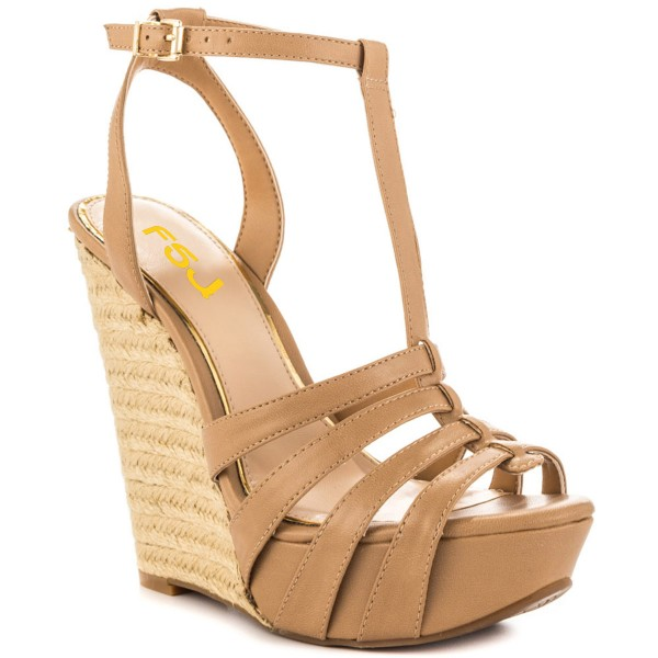 Khaki Wedge Sandals T Strap Peep Toe Platform Shoes image 6
