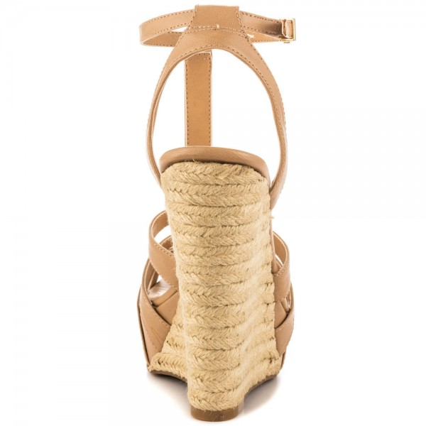 Khaki Wedge Sandals T Strap Peep Toe Platform Shoes image 2