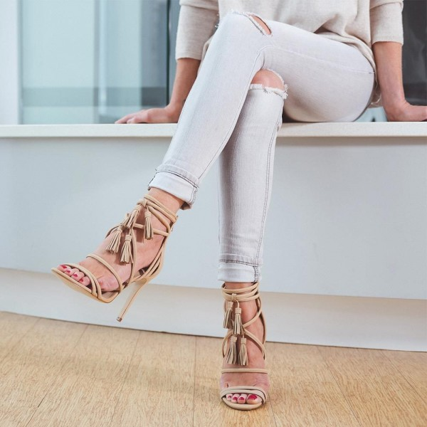 Khaki Tassel Sandals Open Toe Strappy Stiletto Heels image 4