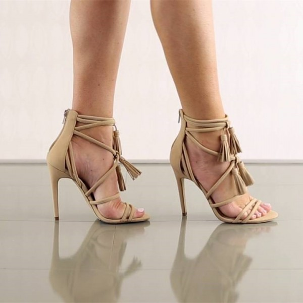 Khaki Tassel Sandals Open Toe Strappy Stiletto Heels image 5