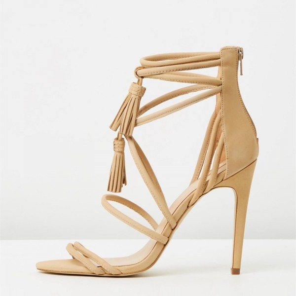 Khaki Tassel Sandals Open Toe Strappy Stiletto Heels image 6