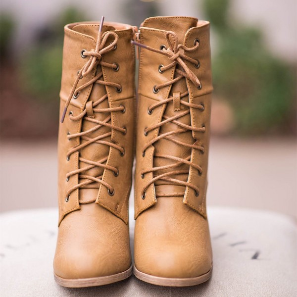 Khaki Vintage Boots Lace up Chunky Heel Retro Ankle Boots image 3