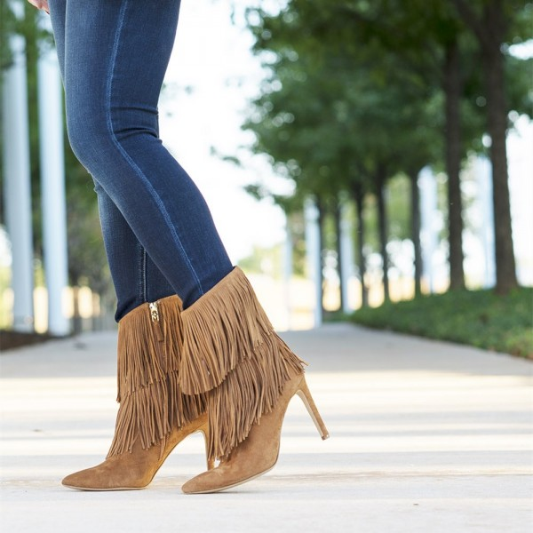 Khaki Fringe Boots Pointy Toe Stiletto Heel Suede Ankle Booties image 1