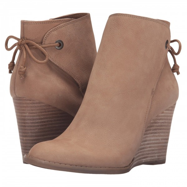Retro Khaki Wedge Booties Round Toe Lace Up Leather Ankle Boots image 4