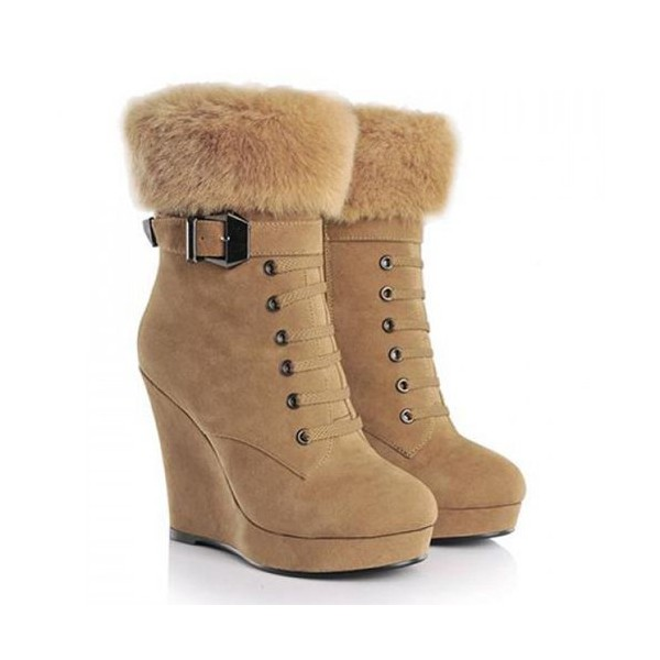 Khaki Fur Boots Lace up Suede Vintage Wedge Booties image 4