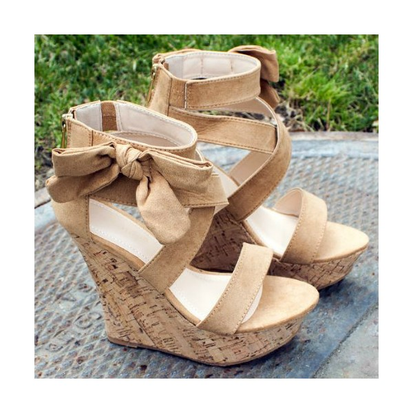 Khaki Cork Wedges Open Toe Suede Side Bow Platform Sandals image 2