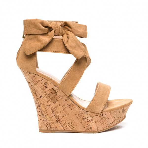 Khaki Cork Wedges Open Toe Suede Side Bow Platform Sandals image 3