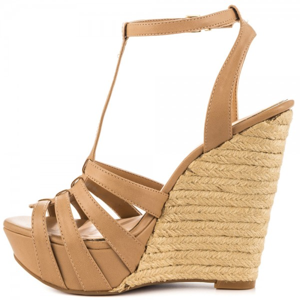 Khaki Wedge Sandals T Strap Peep Toe Platform Shoes image 3