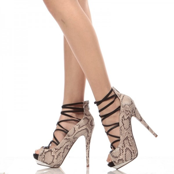 Lace Up Ankle Strap Heels Floral Peep Toe Platform Pumps image 1