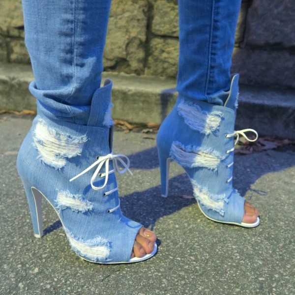 Women's Denim Boots Stiletto Heels Peep Toe Heels Ankle Booties image 5